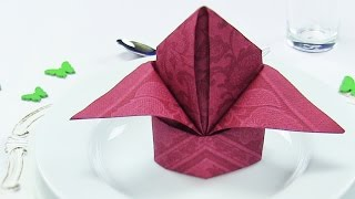 getlinkyoutube.com-Napkin Folding Lily or Bishop's Hat ♗ Easy Tutorial