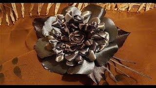 getlinkyoutube.com-Серебряный узелковый цветок из атласных лент. Гильоширование
