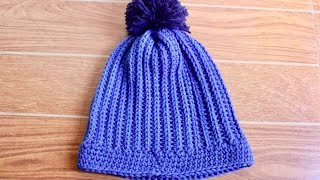 getlinkyoutube.com-How To Crochet A Ribbed Hat With Pom Pom