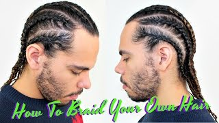 getlinkyoutube.com-Tutorial How To Braid / Cornrow Your Own Hair / Protective Style For Curly Hair / Men Boxer Braids