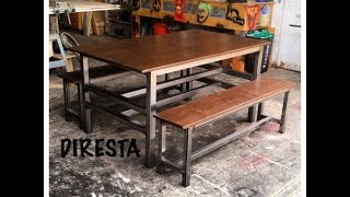 getlinkyoutube.com-🔨 DiResta Matt makes a modern steel/pine table