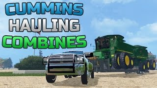 getlinkyoutube.com-Farming Simulator 2015- Dodge Cummins 3500 Hauling 2 John Deere Combines!