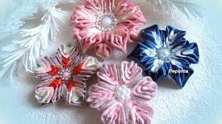 getlinkyoutube.com-Цветок-снежинка канзаши, МК