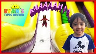 getlinkyoutube.com-HUGE Indoor playground GIANT INFLATABLE SLIDES and Bounce House for kids play center Ryan ToysReview