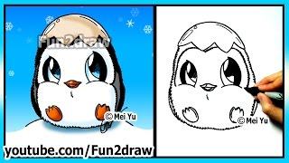 getlinkyoutube.com-How to Draw for Kids - Super CUTE Baby Penguin - Fun2draw