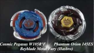 getlinkyoutube.com-EPIC Battle Cosmic Pegasus W105R²F VS Phantom Orion 145ES (Beyblade Metal Fury Hasbro) HD! AWESOME