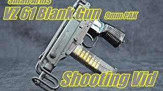getlinkyoutube.com-Small Arms VZ 61 Blank Gun Shooting Scorpion 9mm PAK
