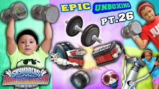 getlinkyoutube.com-SKYLANDER KIDS WORK OUT!  Gym Weights Crush Crypt Crusher! OUCH (Superchargers Epic Unboxing pt. 26)