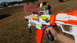 getlinkyoutube.com-Nerf War: Gun Game!