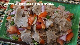 getlinkyoutube.com-Ethiopian Food - Timatim Fitfit Recipe Injera Vegan Amharic English Fit tomatoes