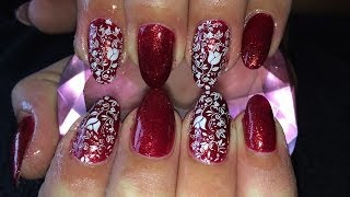 getlinkyoutube.com-Acrylic Nails l Red Glitter White l Nail Design