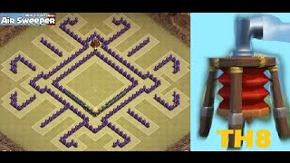getlinkyoutube.com-Epic Town Hall 8 War Base (Anti-Drags/balloons/GoWipe) + Air Sweeper + Defense Log