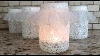 getlinkyoutube.com-DIY Lace Votive Candleholder vr to sweet milk shoppe's Craft While Recycling Challenge