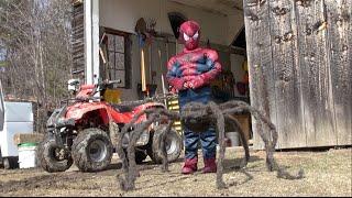 getlinkyoutube.com-LITTLE SPIDERMAN vs GIANT SPIDER