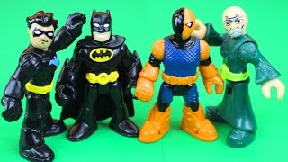 getlinkyoutube.com-Imaginext Nightwing saves Batman from Slade and ninja master warriors Samurai DC superhero