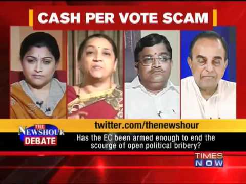 Dr Subramanian Swamy in the Newshour debate - Liquor, cash and coupons (Full)