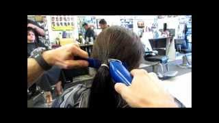 getlinkyoutube.com-Chop Off 10 inch ponytail into Graduated Bob Clipper Haircut Video Preview Cut