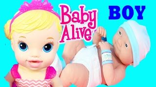 getlinkyoutube.com-BABY ALIVE BOY BABY DOLL Baby Alive Doll is a BIG SISTER Newborn Baby Doll Toys Surprise Tea Party