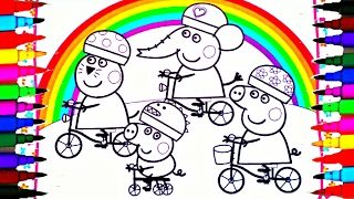getlinkyoutube.com-PEPPA PIG Coloring Book Pages Kids Fun Art Activities For Children Learning Rainbow Colors Bicycles