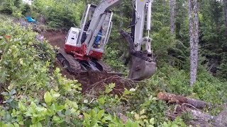 getlinkyoutube.com-Blazing New Trails with Mini Excavator - Off Grid Cabin - Part 1