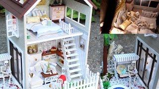 getlinkyoutube.com-DIY Miniature Doll House Full Set With Lights, Bedroom, Kitchen, Living Room, Pool