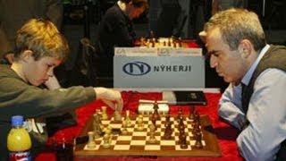 getlinkyoutube.com-Magnus Carlsen Beats Kasparov's Slav Defense ... Almost (Magnus Carlsen vs Garry Kasparov)