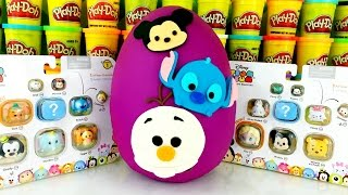 getlinkyoutube.com-TSUM TSUM PLAY DOH SURPRISE EGG | Olaf Stitch Mickey Disney Frozen Elsa