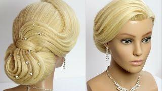 getlinkyoutube.com-Elegant Bun Hairstyle. Wedding prom updo for long hair. Tutorial