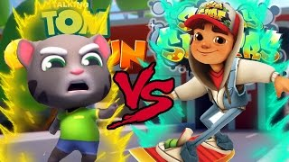 getlinkyoutube.com-Talking Tom Gold Run VS Subway Surfers EPIC BATTLE!