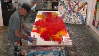 getlinkyoutube.com-How to Paint Large Abstract Fluid Artworks Demo Art Lesson Ideas
