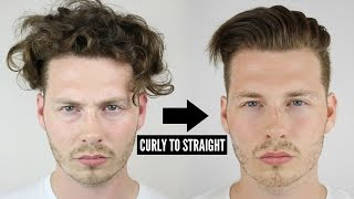 Mens Curly To Straight Hair Tutorial - How To Style Curly Hair 2017