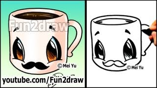 getlinkyoutube.com-Coffee Cup with MUSTACHE - Easy Cartoon Drawing Tutorial