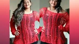 getlinkyoutube.com-Blusa vermelha de crochê de grampo