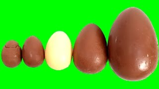 getlinkyoutube.com-Learn Sizes with Surprise Eggs Kinder Surprise Eggs Milka Chocolate Eggs HUGE JUMBO Kinder Maxi Egg