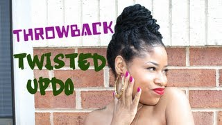 getlinkyoutube.com-Throwback Chunky Twisted Bun | Natural Hair Tutorial