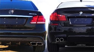 getlinkyoutube.com-Mercedes E63 AMG vs BMW M5 F10 Review Impressions SOUND Onboard Acceleration Revs V8 Turbo W212 2014