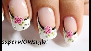 getlinkyoutube.com-Water Decals + Sideways French Manicure Nail Designs (French tip nail art)