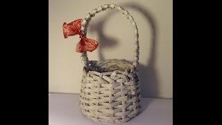 getlinkyoutube.com-Papierowa wiklina - koszyk z rączką
