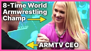 getlinkyoutube.com-World Champion Armwrestler Sarah Backman Vs Gary Roberts ARM TV