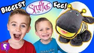 World's BIGGEST STUFFIES Surprise Egg! Tons of Toys + Candy Family Friendly Fun HobbyKidsTV