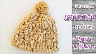 getlinkyoutube.com-Como tejer gorro de lana crochet para todos los talles
