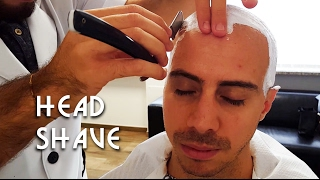💈 Old school Barber - Head Shave with Massage and hot towel - ASMR no talking