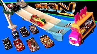 Cars 2 Neon Racers Track Set 2014 Neon Nights Taia Decotura Metallic Lightning McQueen Disney Pixar