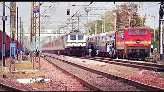getlinkyoutube.com-Back To Back High Speed Overtakes By Elite Trains || Last Time For The Legendary Poorva Express..!!