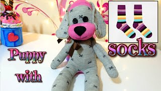 getlinkyoutube.com-DIY: how to make a puppy dog with socks | easy crafts | Isa ❤️