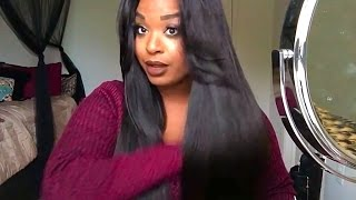 getlinkyoutube.com-Straightening my DIAMOND DYNASTY VIRGIN HAIR:: BRAZILIAN  BODYWAVE and 2week update