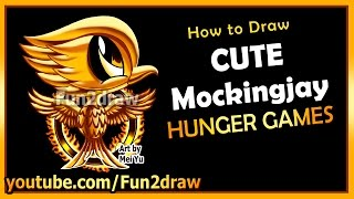 getlinkyoutube.com-Cute Mockingjay Hunger Games - How to Draw Easy Things - Movie Cartoons for kids teens Fun2draw