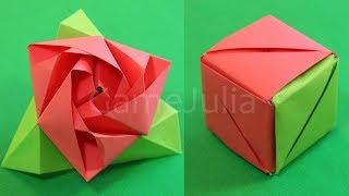 getlinkyoutube.com-Волшебная Оригами РОЗА КУБ из бумаги