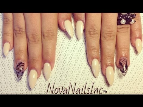 HOW TO: Almond Shaped Nails With Lace ♥