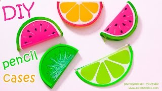 getlinkyoutube.com-DIY Pencil Cases FRUITS (Watermelon, Lemon, Kiwifruit) – NO SEW DIY School Supplies